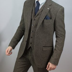 Men S Brown Tweed 3 Piece Herringbone Suit Buy Online Mr Munro