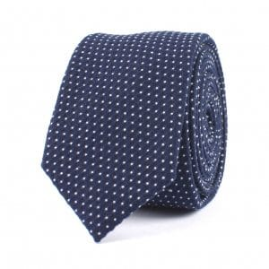 Royal Blue with White Pindot Cotton Tie