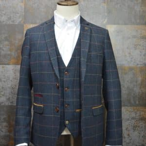 'Eton' Navy Tweed Check Three Piece Suit by Marc Darcy