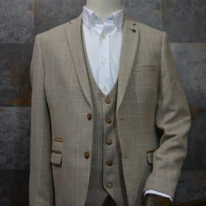 'Owen' Cream Tweed Check Three Piece Suit by Marc Darcy