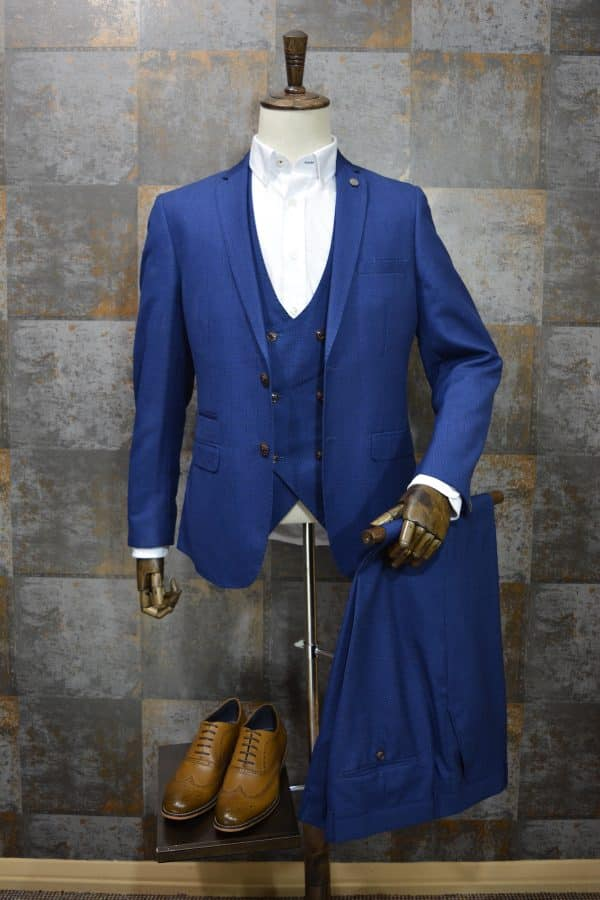 'George' Blue Check Print Three Piece Suit by Marc Darcy