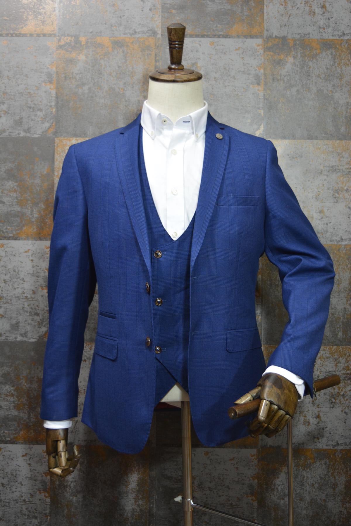 14b5b14b9387 George' Blue Check Print 3 Piece Suit by Marc Darcy | Mr. Munro