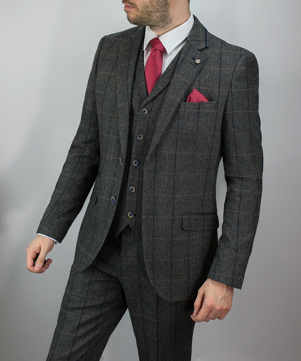 24c5769d48bb Men s 3 Piece Dark Grey Herringbone Tweed Slim Fit Suit
