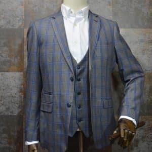 'Roman' - Grey Windowpane Check Three Piece Suit by Marc Darcy