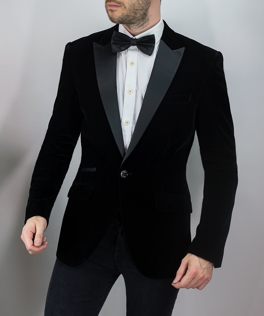 Men S Black Slim Fit Velvet Blazer Jacket Mr Munro Free Delivery