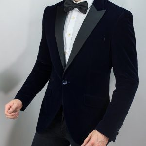 Men's Navy Velvet Jacket