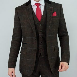 Tommy 'Peaky Blinders' Inspired 3 Piece Mens Tweed Brown Suit