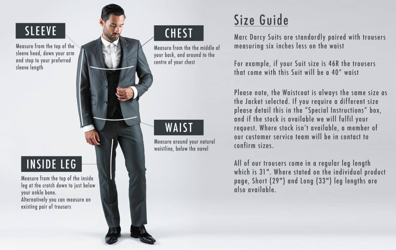 b1c3fb278d07 Marc Darcy - Size Guide | Mr. Munro | Newcastle Upon Tyne | Men's ...
