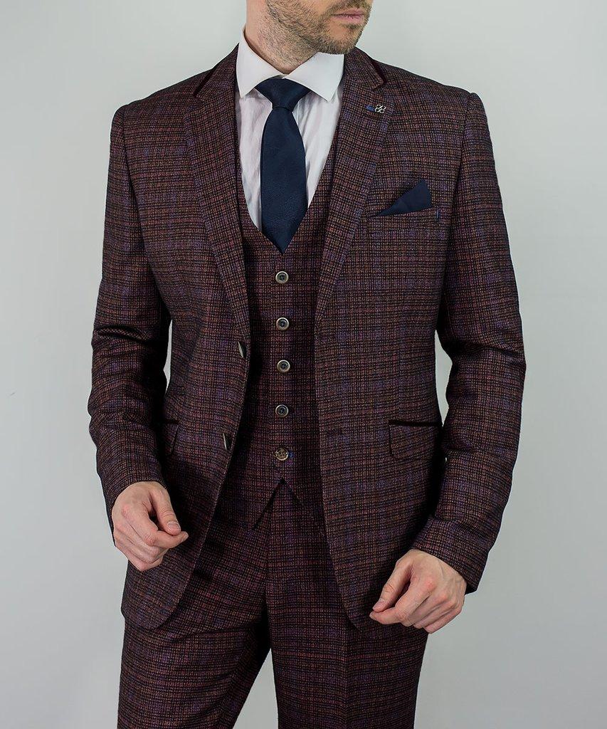 f8a7781af808 Men's Check 3 Piece Wine/Burgundy Tweed Suit | Buy Online | Mr. Munro