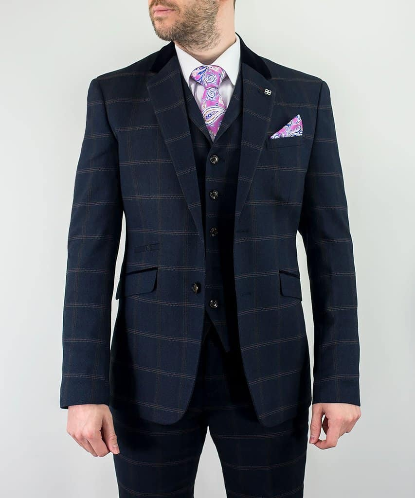 9adf91f8e729 Connall Navy Tweed Check Slim Fit 3 Piece Suit | Mr. Munro