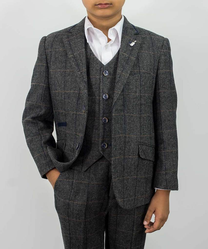 Albert Grey Tweed Check Boys Three Piece Suit Mr Munro